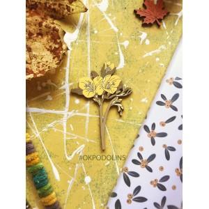 Брошь Фрезия в желтом цвете