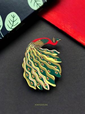Брошь Павлин с зеленовато-желтым хвостом