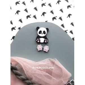 Набор: брошь Панда и сережки Лапки