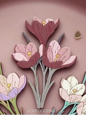 Брошь Букет Крокусов в пыльно-розовом цвете