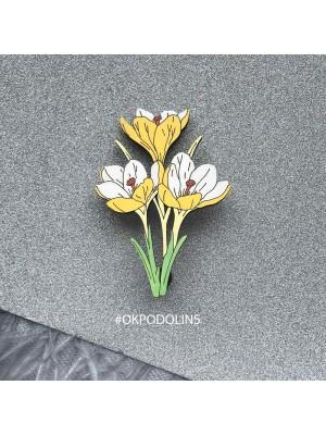 Брошь Букет Крокусов в желтом цвете
