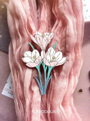 Брошь Букет Крокусов в нежных цветах