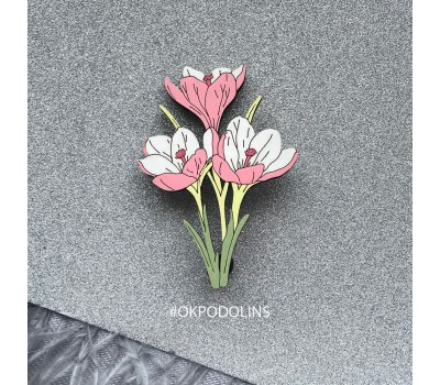 Брошь Букет Крокусов в нежно-коралловом цвете