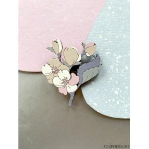 Брошь Цветок Яблони бежево-фиолетовый