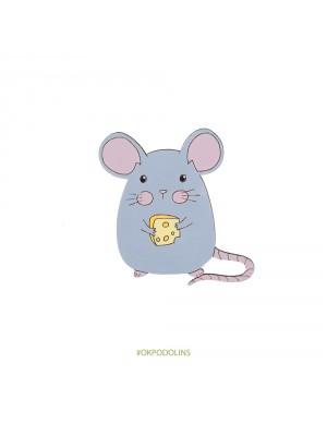 Брошь Мышка с сыром