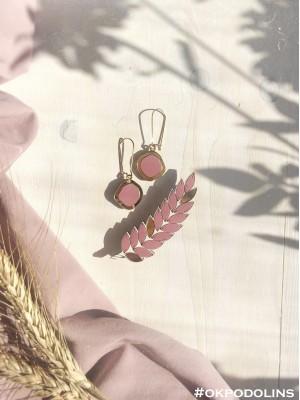 Набор брошь Колосок и серьги Озера в пыльно-темно-розовом