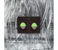 Сережки Желуди ярко-зеленые