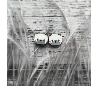 Сережки Котята беленькие