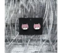 Сережки Котята розовые