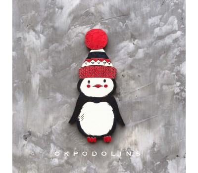 Брошь Пингвин в шапке