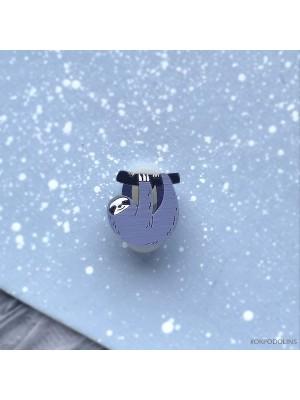 Миниброшь Ленивец маленький фиолетовый