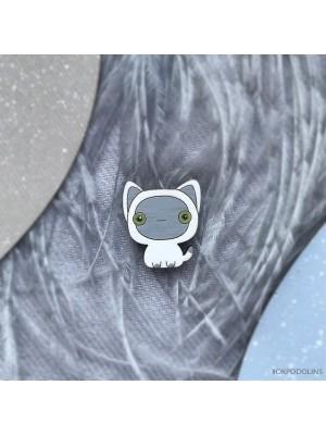 Миниброшь Котенок Гав маленький бело-серый