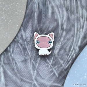 Миниброшь Котенок Гав маленький бело-розовый