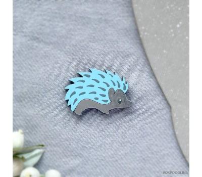 Брошь Еж в серебристо-голубом