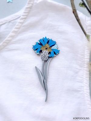 Брошь Василек сини на серой ножке