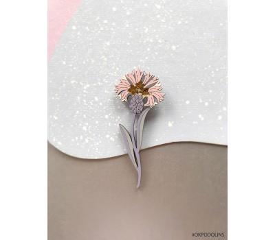 Брошь Василек розовый на серой ножке