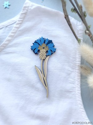 Брошь Василек синий на бежевой ножке