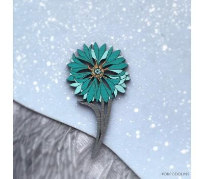 Брошь Василек зеленый на серебристой ножке