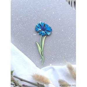 Брошь Синий Василек на ножке