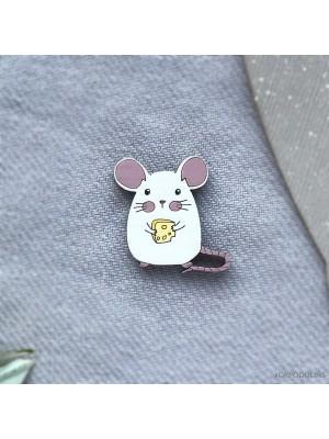 Миниброшь Мышка с сыром маленькая беленькая