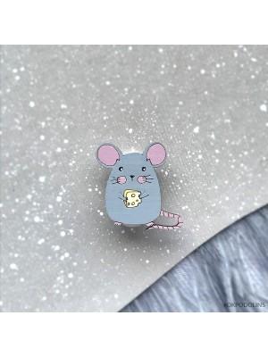 Миниброшь Мышка с сыром маленькая серенькая