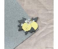 Брошь Лимон цветущий с серебряными листиками