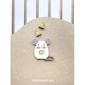 Набор: брошь Мышка с сыром и сережки Сыр