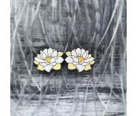 Сережки Лотосы маленькие желтые
