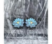 Сережки Лотосы маленькие голубые