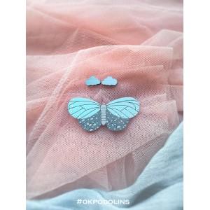 Набор брошь Моль детская и сережки Сердечки в голубом цвете