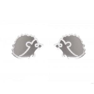 Сережки Ёжики зеркальные серебристые