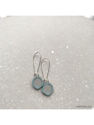 Серьги Два Озера на швензе пыльно-голубые с серебром