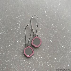 Серьги Два Озера на швензе розовые с серебром