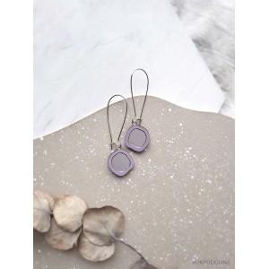 Серьги Два Озера на швензе фиолетовые с серебром