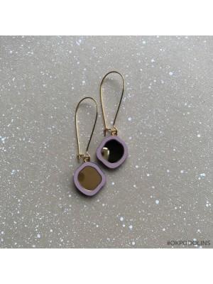 Серьги Два Озера на швензе фиолетовые с золотом