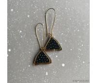 Серьги Пирамидки на швензе черные в горошек с золотом