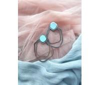 Серьги Круги на воде небесно-голубые с серебром