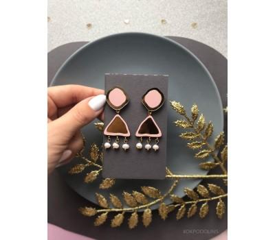 Серьги Самородки пыльно-розовые с золотом