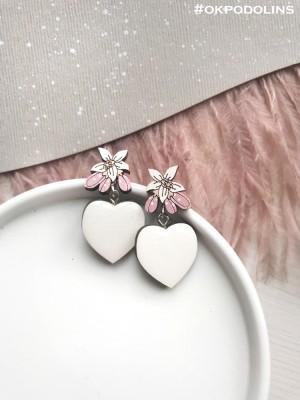 Серьги Цветок лимона и Сердце в белом цвете