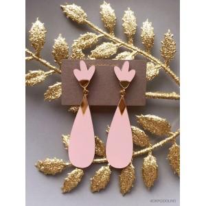 Серьги Капель пыльно-розовые с золотом