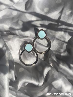Серьги Орбита в серебряном цвете и голубом