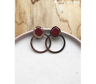 Серьги Орбита в серебряном цвете и бордовом