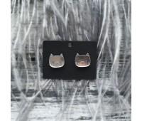 Сережки Котята зеркальные серебристые