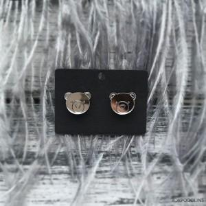 Сережки Мишки зеркальные серебристые