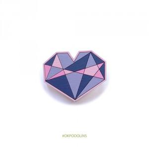 Брошь сердце геометрическое