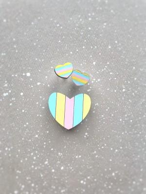 Набор: миниброшь Сердечко и сережки Сердечки