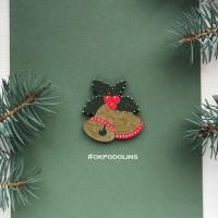 Брошь Рождественские колокольчики