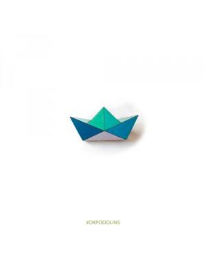 Брошь геометрический кораблик