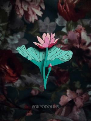 Брошь Лилия в мятно-малиновом цвете