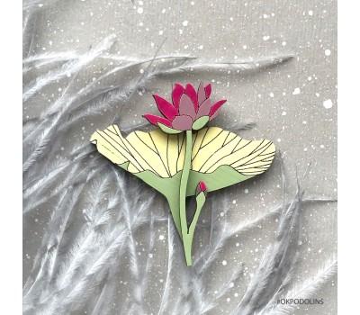 Брошь Лилия в малиново-желтом